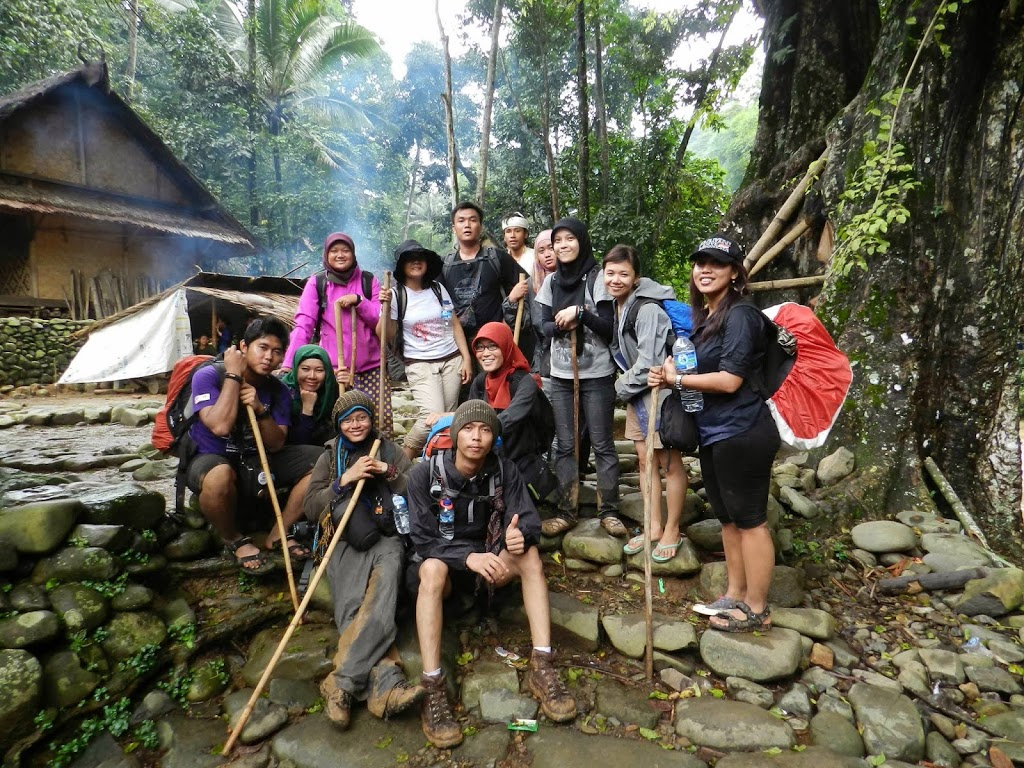 In front of the famous Roots Bridge in Baduy