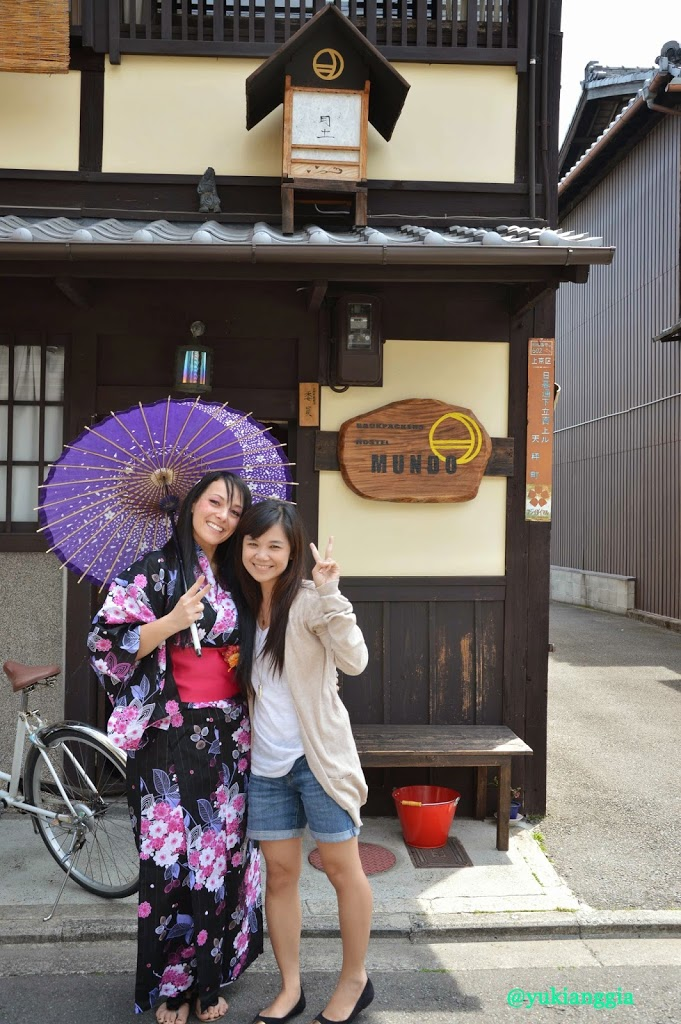 With silly Barbara in front of our hostel in Kyoto