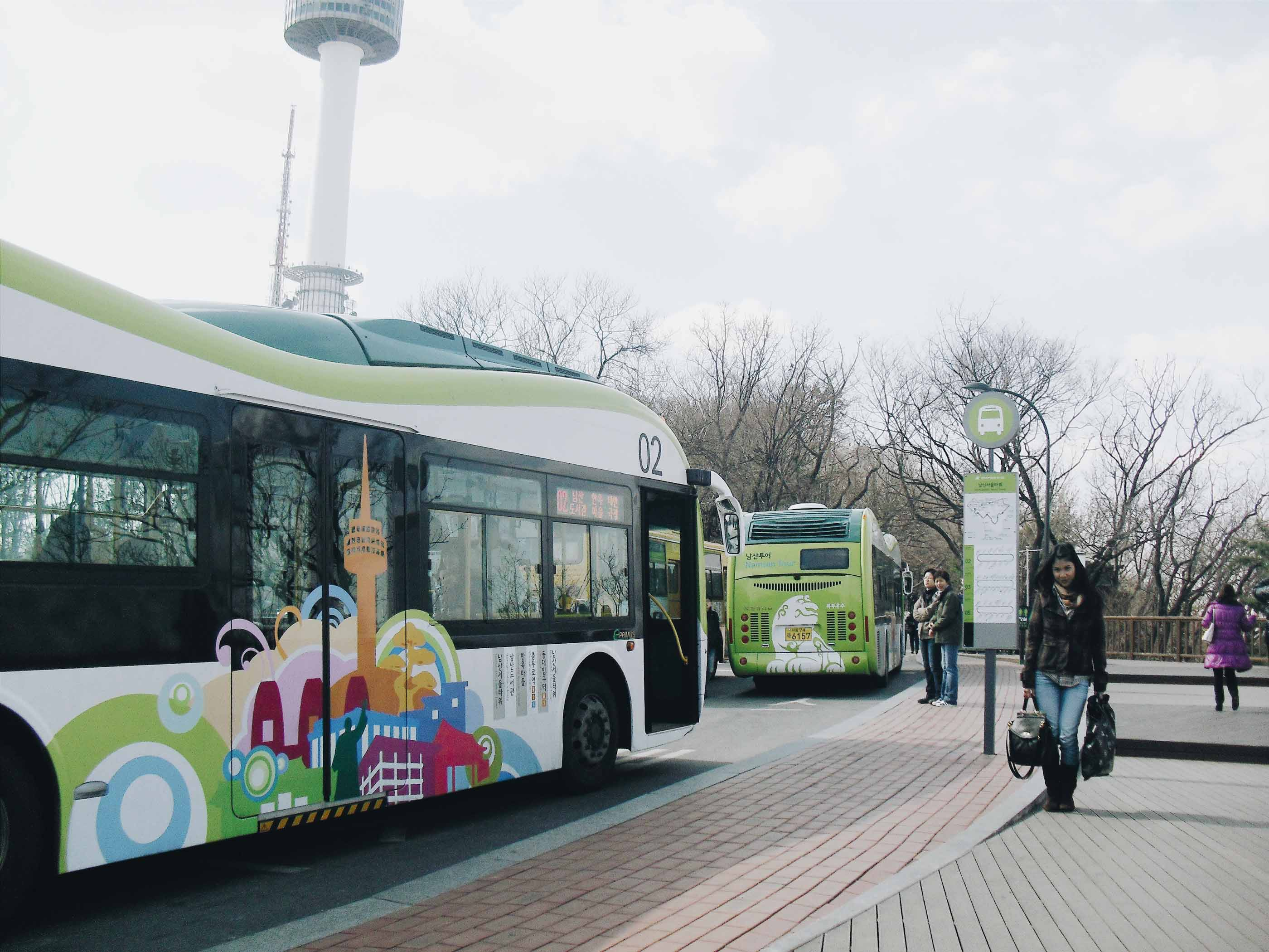 Halte Namsan Shuttle Bus di Namsan Tower